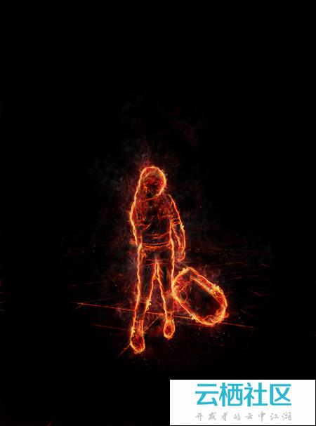 利用滤镜及素材快速把人物转为火焰人像-ps人像滤镜
