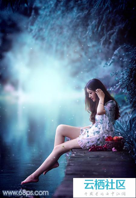 Photoshop给水景人物图片加上魔幻的青蓝色-电影截图加上经典台词