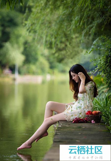 Photoshop给池塘边的人物加上梦幻的淡调青蓝色-柳絮池塘淡淡风
