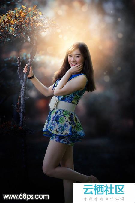 Photoshop打造漂亮的秋季暖色逆光外景人物图片-photoshop逆光