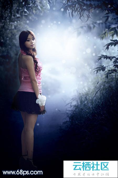 Photoshop打造梦幻的冬季青蓝色树林人物图片-photoshop打造