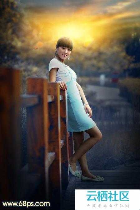 Photoshop给木桥上的人物加上秋季晨曦效果-大木桥路