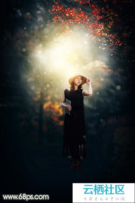 Photoshop打造唯美的暗调黄蓝色秋季树林人物图片-树林图片大全唯美图片